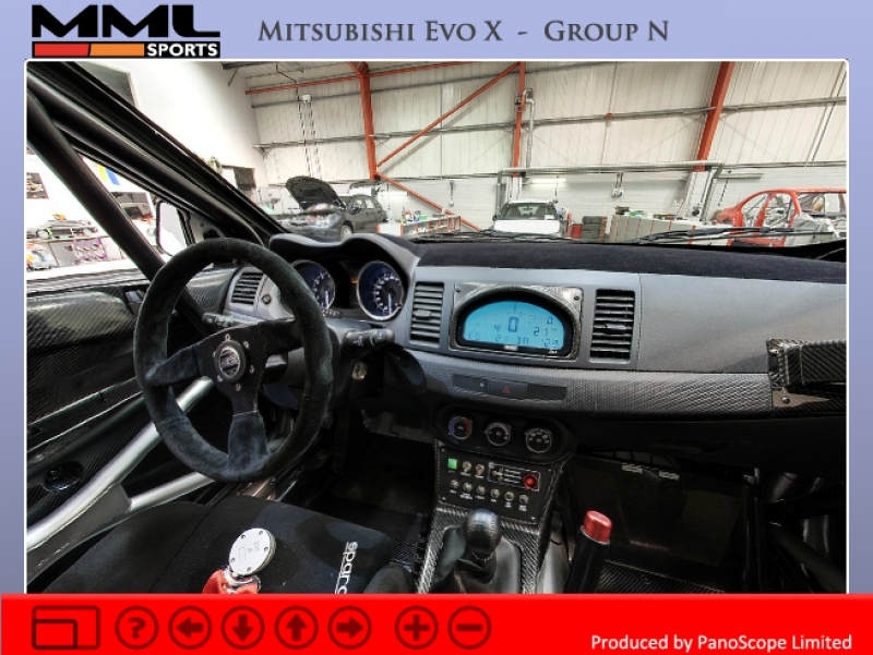 Drivers' eye view of MML Sports rally car